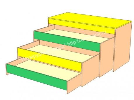 Кровать трехъярусная с коробом